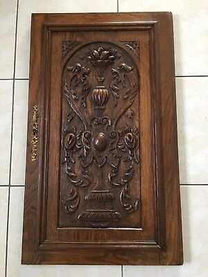 Antique French Carved Wood Architectural salvaged Door w/ griffin chimera