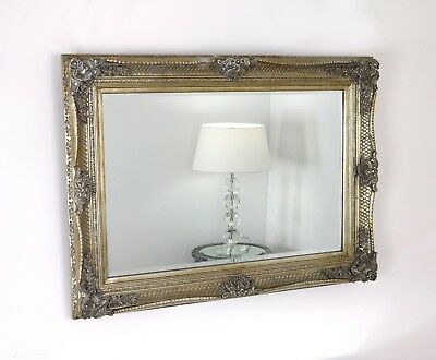 "Abbey Champagne Silver Rectangle Vintage Wall Mirror 44"" x 32"" (112cm x 81cm)"