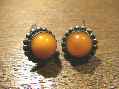 11.2 gr.NATURAL OLD ANTIQUE  silver  BALTIC AMBER  CUFFINKS  波羅的海琥珀(3)