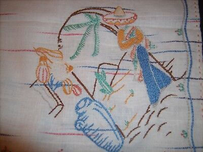 VTG. 1950-60s Southwestern  Mexican Theme Tablecloth Hand Embroidered 27 1/2x31""