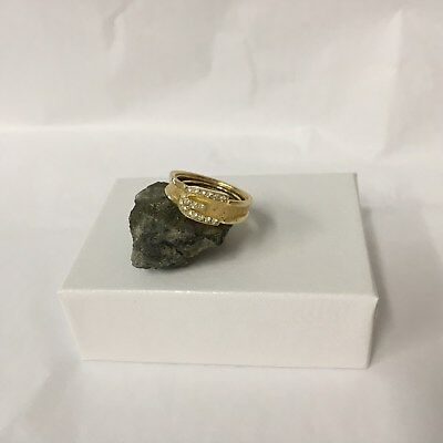 Vintage AVON Gold Tone BUCKLE RING With Rhinestones Adjustable 1970's Size 6-8?