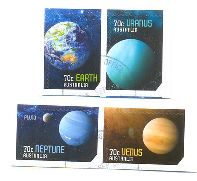 Australia-Our Solar System self-adh fine used cto set of 4 2015 - Space
