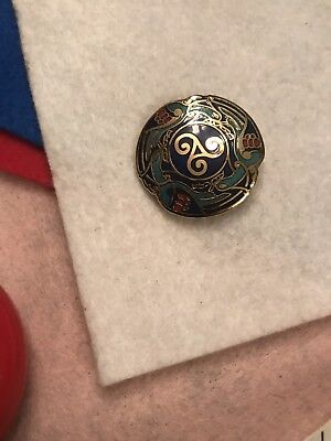 Vintage Celtic Sea Gems Enamel Round On Gold Tone Brooch Pin , Blues , Red