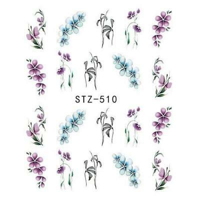 Nail Art Water Decals Stickers Transfers Purple Blue Spring Flowers Floral (510)