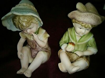 """Beautiful, rare matched pair of vintage Signed  Boy 4"""" & girl 4 1/2 piano babies"""