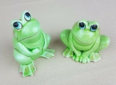 2 (Two) Vintage Japan Daydreaming Relax Pink Cheeks Green Frogs S&P Salt Pepper