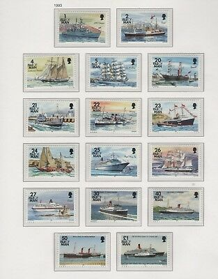 Isle Of Man 1993 Ships Definitives  Set Of Mint Stamp Free P&p