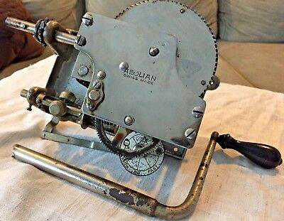 Antique Aeolian Gramophone CRANK and motor Mechanism Swiss Made