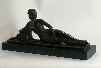 Great Detail Museum Quality Nude Female with Dog 100% Solid Bronze Sculpture Art