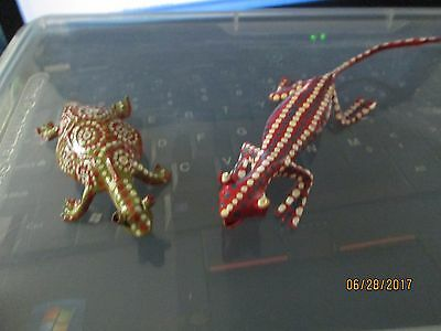 folk Handcrafted Recycled Tin Painted Metal reptile turtle lizard gecko African