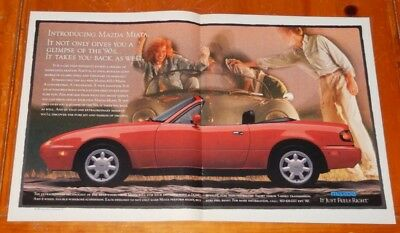 1989 Mazda Miata Convertible In Red Large Ad - Retro 90S Japanese Classic Mx-5