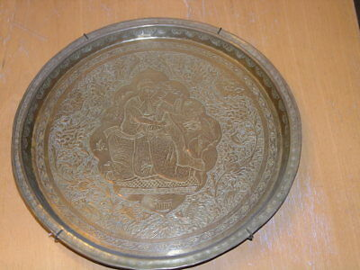 Antique Persian Engraved Brass Wall Hanger Larger plate Lovers Animals Birds 11""