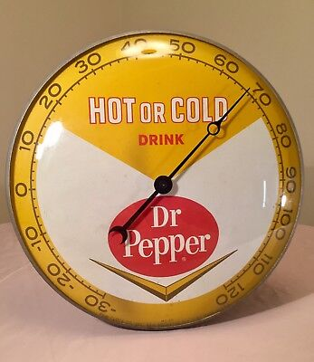 Vintage Dr Pepper 1963 Glass Front Hanging Thermometer