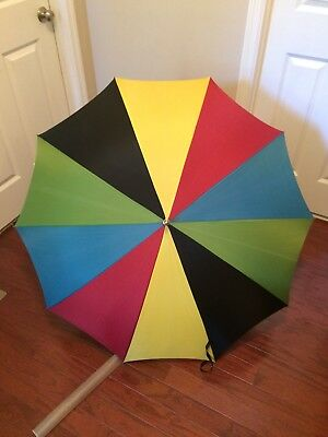 Vtg! Beautiful Finkel Large Full Size Personal Umbrella Parasol Unique Handle