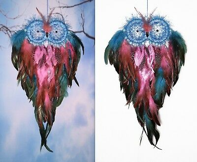 Dream Catcher Owl - Blue, purple and pink feathers, 10 pcs Turquoise beads.