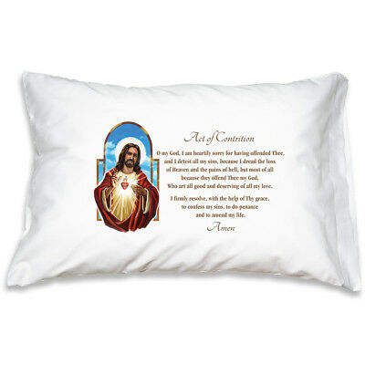 Sacred Heart Act of Contrition Catholic Prayer Pillowcase