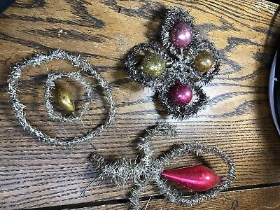 Antique Lot Lead Tinsel Beaded Christmas Ornaments. Victorian