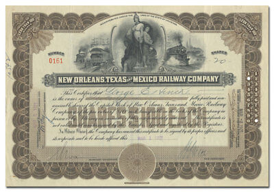New Orleans, Texas and Mexico Railway Company Stock Certificate