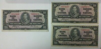 1937 Bank Of Canada Lot Of 3 $10.00 Banknotes Coyne/towers