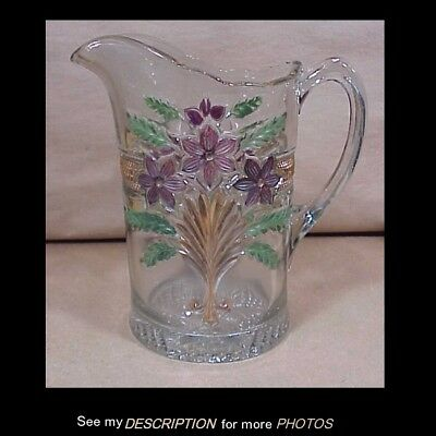 Antique 1915 EAPG PAttern Glass Water Pitcher Narcissus Spray