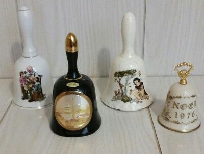 Vintage Porcelain Bells Lot of 4 Norman Rockwell, Wlat Disney, Christmas, DC