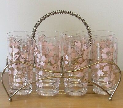 Vintage mid century Fred Press pink dogwood  8 glasses highball  with carrier