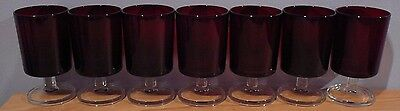 7 Ruby Red Glass Cristal D'arques Luminarc Cavalier Wine Glasses 5 Oz