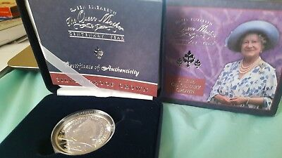 2000 Queen Mother Centenary year 5 pound Silver Proof Crown Coin with case/COA