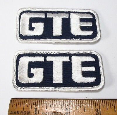 Vintage 1980s Pair GTE General Telephone & Electric Employee Uniform Patches