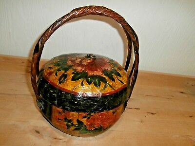 Antique Handmade Chinese Asian paper mache wedding basket with handle & lid