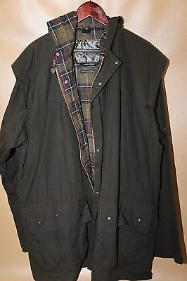 #93 Barbour Classic Durham Waxed Hooded Jacket Size 48