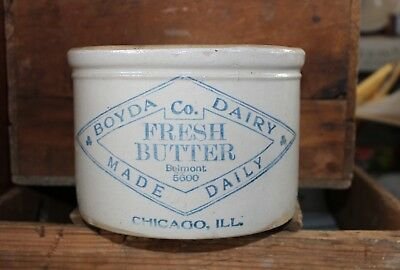 5 lb. RED WING BOYDA DAIRY CO. CHICAGO, ILL ADVERTISING STONEWARE BUTTER CROCK !