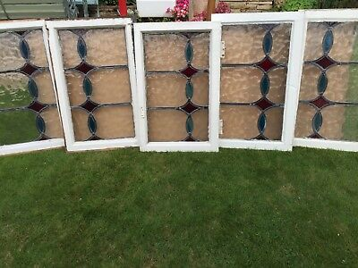 1930's antique leaded lights, set of five transom windows