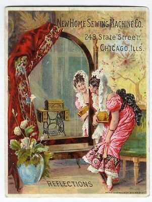 NEW HOME SEWING MACHINE Victorian Trade Card 1880's Pretty Woman Front of Mirror