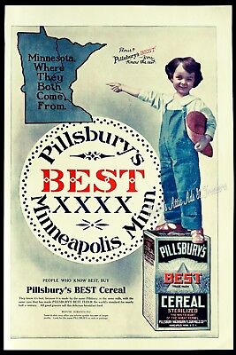 1908 PILLSBURY'S BEST CEREAL Boy in Coveralls Minnesota BIG Kitchen Vtg PRINT AD