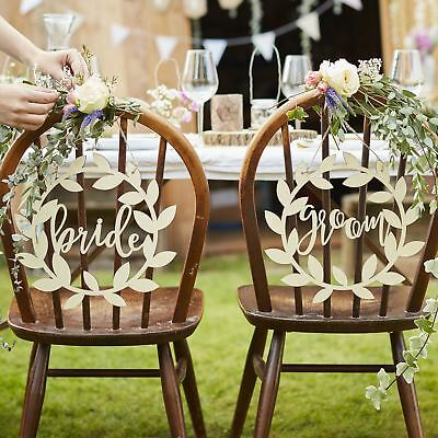 Rustic Country (Ginger Ray Wedding Supplies) Bride & Groom Chair Signs