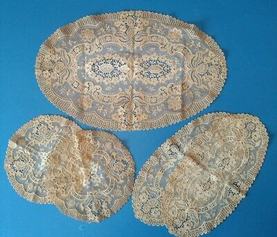 Set of 5 FRENCH NET TAMBOUR ANTIQUE LACE DOILIES c1920 Vintage Doily DELICATE!