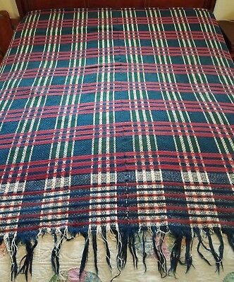 "1800's Antique Wool Hand Woven 4Color Coverlet Red Blue Off White Green 70""x 72"""