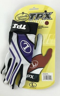 Louisville Slugger Tpx Freestyle 1.0 Batting Gloves Purple White Black Gray Sz S
