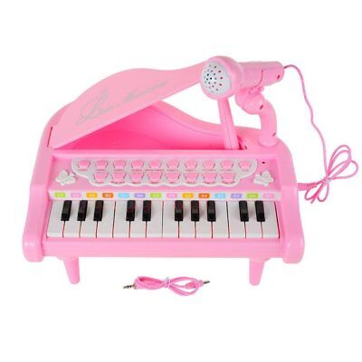 Kids Piano Keyboard Toy 24 Keys Pink Electronic Musical Instrument W Microphone