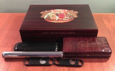 ROMEO Y JULIETA 125th ANNIVERSARY HUMIDOR CIGAR BOX W 3 EXTRA CASES & CUTTERS