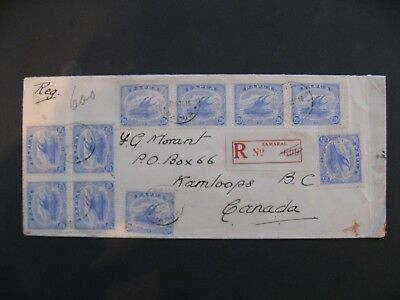 Papua, Lakatoi Cover to Kamloops Canada showing 10 x SG87's Nice item