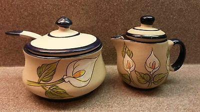 Unused Covered Pottery Sugar Bowl & Spoon And Covered Creamer Lily Design
