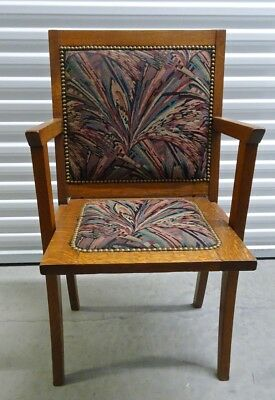 "Unique Vintage ""Opera Chair"" - solid quarter-sawn oak, upholstered seat"