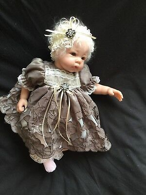 """Reborn Doll Dress Set. Taupe/cream Embroidered 16-17""""."""