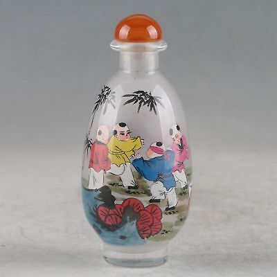 Exquisite Glass Interior Painted Hand-painted Kids  Snuff Bottles ZJ389
