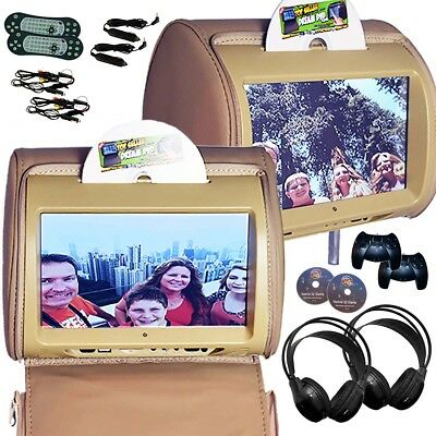 PAIR - Autotain HERO-Y 9 inch Touch Screen Headrest DVD Player Monitor TAN BEIGE