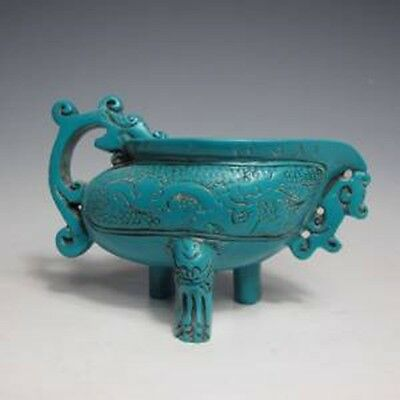 Oriental Ancient Chinese Turquoise Hand-carved Dragon Cup