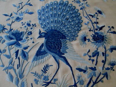"""ANTIQUE/VINTAGE CHINESE PEACOCK & FLORAL SILK EMBROIDERY PANEL  28"""" x 27"""""""
