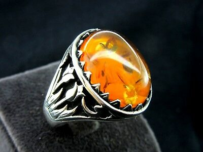 Turkish Handmade Ottoman Style 925 Sterling Silver Amber Men's Ring Size 12